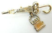 """1G Vintage Atlantic City 'Umbrella And Purse"""" Metal Ladies Pin Brooch Souvenir"""