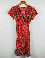 Coline Womens Designer Dress Size Small (AU 8) Red Chilli Floral Design Back Tie