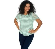 Vince Camuto Crew Neck Flutter Sleeve Simple Stripe Top (Green Bay, 1X) A347527