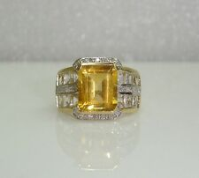 LARGE CITRINE RING W/ WHITE TOPAZ & DIAMONDS IN 10K YELLOW GOLD SZ 6.25  NG16-F