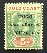 More details for togo george v 1916 5/- green & red/yellow m/m sg h. 56. (ct £45)