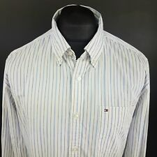 Tommy Hilfiger Mens 2 Ply Shirt LARGE Long Sleeve Blue Custom FIt Striped Cotton