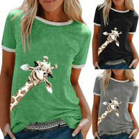 Women Giraffe Printing Short Sleeve T-shirt Ladies Casual Tunic Tops Blouse Tees