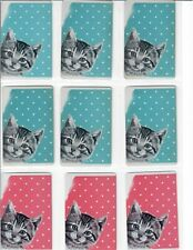 9 Single Vintage Swap Playing Cards - Tabby Kittens, Polka Dots