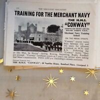 g1k ephemera vintage advert sea training merchant navy h m s conway b456