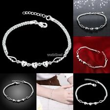 925 Sterling Silver Women Charm Love Heart Beads Bracelet Bangle Jewelry WST