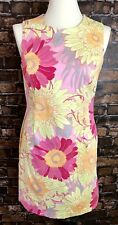 Talbots Dress Petite 12 Large L Pink Orange Green Flowers Knee Length Stretch