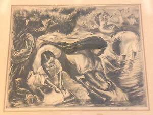 "Vintage IRWIN HOFFMAN (1901-1989) Pencil Signed Etching Print ""Mexican Wash Day"""