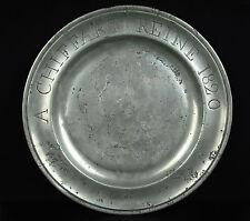 "Plat en étain ""Chauffart Reine "" 1820 poinçon Jean Baptiste Oudart orfèvre Lille"