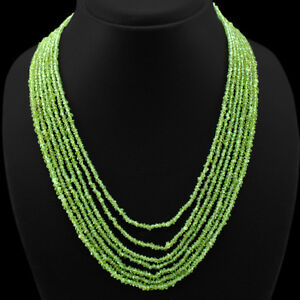 BREATHTAKING QUALITY 264.00 CTS NATURAL 7 LINE GREEN PERIDOT BEADS NECKLACE (RS)
