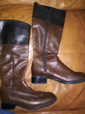 Womens Brown and Black Leather Boot Zip Up Lined Riding Santana Canada size 7.5