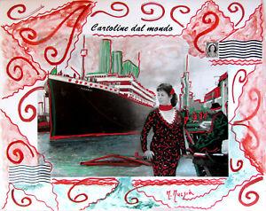 """MARIA MURGIA """"Titanic"""" CM 40X50  pezzo unico  dipinto"""