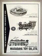 Masudaya Toy PRINT AD - 1969 ~Space Ship X-5, Western & Silver Mountain train
