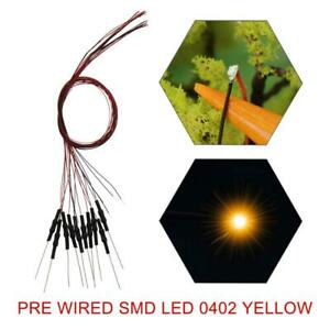 20pcs Pre-wired SMD 0402 LED Yellow Pre-soldered 0402 micro litz Leds