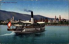 Schiffe ~1910 Schweiz Binnenschiff Dampfschiff mit Flagge Alpen-Quai Zürich