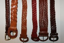 LOT of 6~Women's~LEATHER~Braided WOVEN~Belts~POLO Ralph Lauren~BROWN~Red~Medium