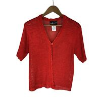 Sag Harbor women's size M Red Loose Knit Short Sleeve 1 Button Open Sweater Top