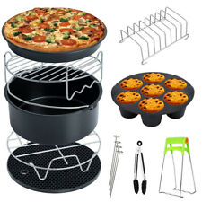 9Pcs Air Fryer Accessories Kit Cake/Pizza Pan Metal Rack Kitchen Cooking Tools