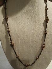 NWT Robert Rose Dark Coppery- Rose Gold Tone Beaded Long Necklace-$42