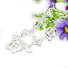 Attractive Women Dance Ornament Silver Plated Musical Notes Chain Bangle Bracele