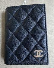 CHANEL Classic Black Caviar Leather Men's Women's bifold card case ID Window NWT