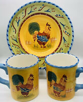 Hausenware by Mary Jane Mitchell Fall Rooster Dish & Mugs Hand Painted Set Of 3