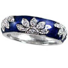 DESIGNER REPLICA FLORAL CLEAR CZ BLUE ENAMEL RING BAND_SIZE 8