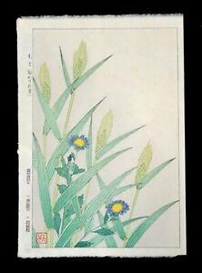 Japanese Woodblock Print Forget Me Not & Barley Shodo Kawarazaki (1889-1973)(***
