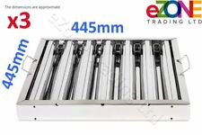 More details for 3x canopy grease baffle filter stainless steel kitchen extraction hood 445x445mm