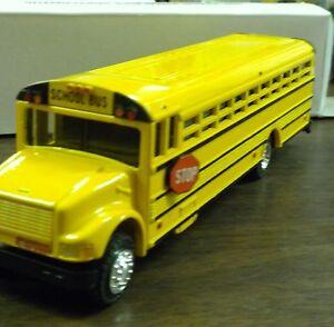 "Yellow School Bus Die Cast Metal 8 1/2"" long Authentic Scale Vintage 1988 NEW"