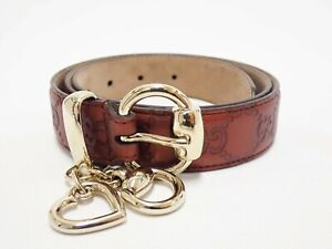 Authentic Gucci guccissima Belt Red Gold Tone Metal Leather 85/34