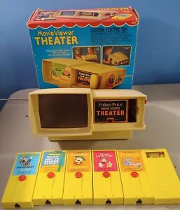1977 Fisher Price Movie Viewer Theater #463 Tested Works w/6 Cartridge Movies