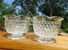 """2 Vtg Diamond Pattern Ruffle Top Taper Candle Cups 4"""" x 3"""" High No Chips"""