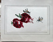 Vintage Asian Abstract Watercolor Grasshopper on Strawberries  Unsigned Artist