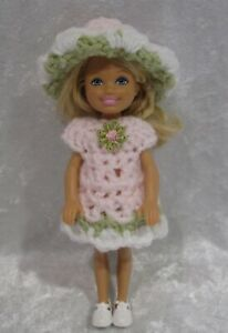"""Made to fit 5½"""" CHELSEA #03 Handmade Clothes, Crochet Dress & Hat Set"""