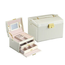 PU Leather Jewelry Box Necklace Earring Organizer Storage Case Cabinet Armoire