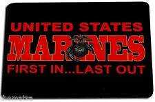 MARINE CORPS FIRST IN LAST OUT LOGO DOOR MAT RUG CARPET MADE IN USA