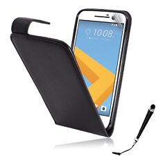 Black Leather Flip Case Cover for HTC 10 SP & Stylus