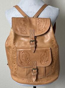 Paraguay Tooled Backpack Tan Leather Boho Hippie Handmade Bag Drawstring Buckle
