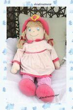 Poupée Doudou Robe Et Pantalon Rose Chapeau Rose Fleur Jaune Nicotoy 65 cm