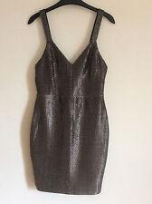 Women's Lipsy Black & Gold V Neck Bodycon Dress, Size 10, BNWT