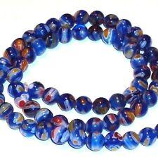"G616 Dark Blue Multi-Color Flower 6mm Round Millefiori Glass Beads 14"""