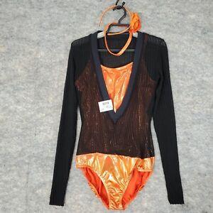 A Wish Come True Dance Costume Large Adult Leotard Orange Black Combat Zone