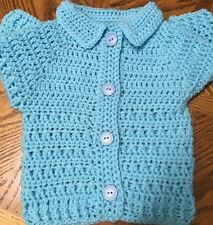 Boys' Handmade Crochet Long Sleeve Cardigan 6 to 12 months Sky Blue