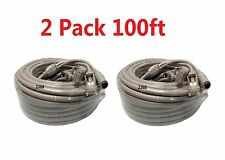 2x Cat5E Network Ethernet LAN Video/Thick Power Cable for CCTV IP Camera 100ft
