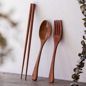 New Portable Wooden Reusable Spoon Fork Chopsticks Set Tableware Flatware