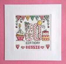 Happy 80th Birthday cross stitch card kit