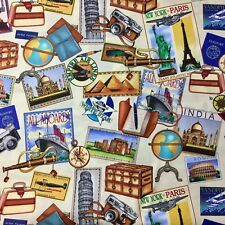 Travel Paraphernalia Vintage World Snapshot Toss Cream Sewing Quilt Fabric FQ