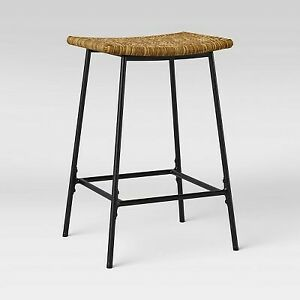 Latta Faux Seagrass Counter Height Barstool with Metal Base Black/Natural - Thre