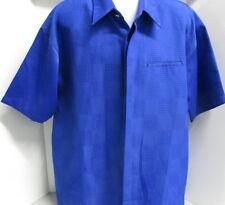 Montigue Camp Style Shirt, Bright Blue, S/S, XL, Geometric Pattern